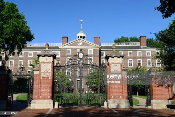 gate to campus of brown university - brown university stock pictures, royalty-free photos & images