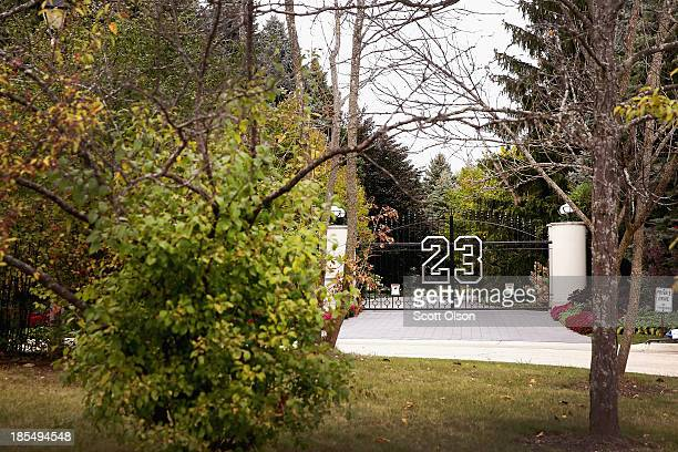 Gate with the number 23 controls access to the home of basketball legend Michael Jordan on October 21, 2013 in Highland Park, Illinois. Twenty-three...