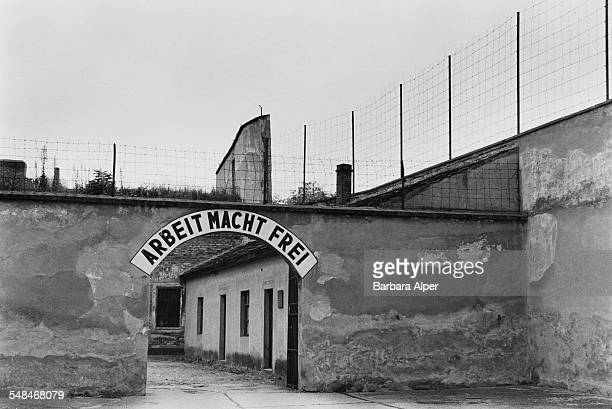 A gate with the slogan 'Arbeit Macht Frei' 'work makes free' over the gateway to the Small Fortress at the former German Nazi concentration camp of...