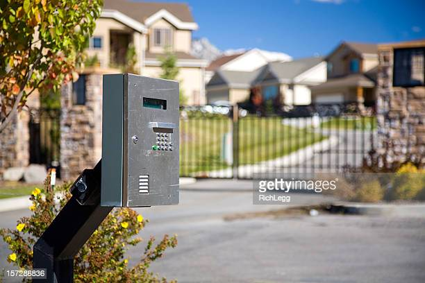 gated community - intercom stock pictures, royalty-free photos & images