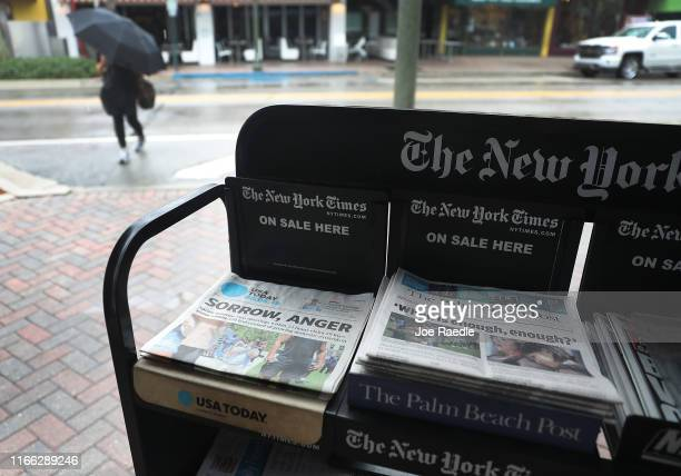 GateHouse Media owned Palm Beach Post and the Gannett Co. Owned USA Today are seen for sale at a newsstand on August 05, 2019 in Palm Beach, Florida....