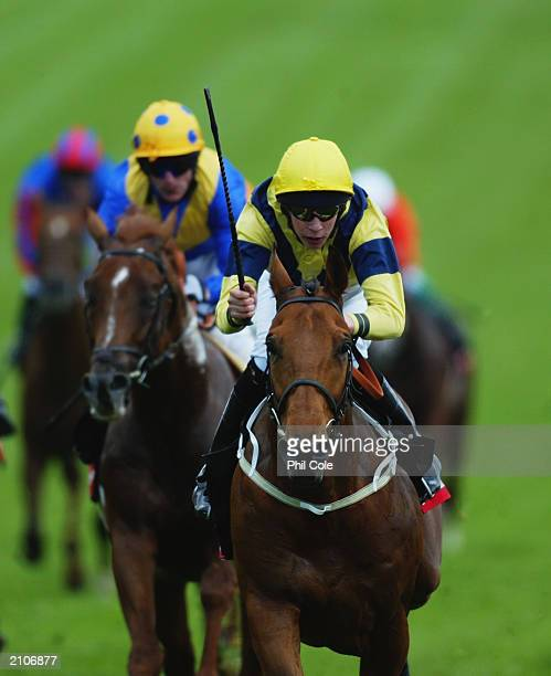 Gateman ridden by Keith Dalgleish in action during the Vodafone Diomed Stakes aon June 7 2003 at Epsom Racecourse in Epsom England