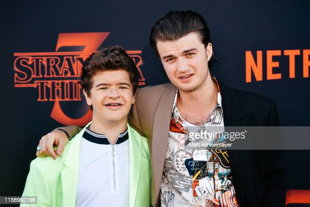 Gaten Matarazzo and Joe Keery attend the premiere of Netflix's Stranger Things Season 3 on June 28 2019 in Santa Monica California