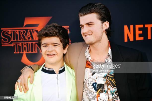"Gaten Matarazzo and Joe Keery attend the premiere of Netflix's ""Stranger Things"" Season 3 on June 28, 2019 in Santa Monica, California."
