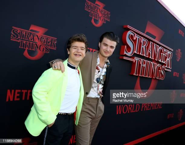 "Gaten Matarazzo and Joe Keery attend the ""Stranger Things"" Season 3 World Premiere on June 28, 2019 in Santa Monica, California."