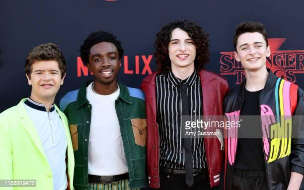 "Gaten Matarazzo, Caleb McLaughlin, Finn Wolfhard, and Noah Schnapp attend the premiere of Netflix's ""Stranger Things"" Season 3 on June 28, 2019 in..."