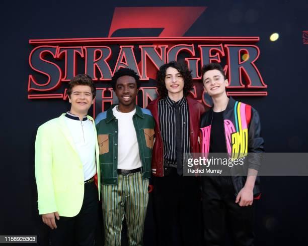 "Gaten Matarazzo, Caleb McLaughlin, Finn Wolfhard, and Noah Schnapp attend the ""Stranger Things"" Season 3 World Premiere on June 28, 2019 in Santa..."