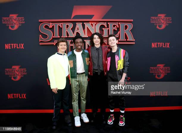 Gaten Matarazzo Caleb McLaughlin Finn Wolfhard and Noah Schnapp attend the Stranger Things Season 3 World Premiere on June 28 2019 in Santa Monica...
