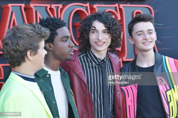Gaten Matarazzo Caleb McLaughlin Finn Wolfhard and Noah Schnapp attend the premiere of Netflix's Stranger Things Season 3 on June 28 2019 in Santa...