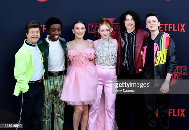 Gaten Matarazzo Caleb McLaughlin Millie Bobby Brown Sadie Sink Finn Wolfhard and Noah Schnapp attend the premiere of Netflix's Stranger Things Season...