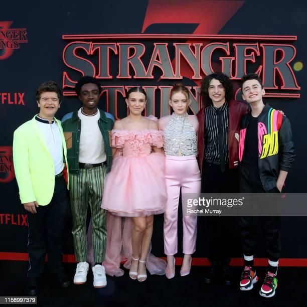 "Gaten Matarazzo, Caleb McLaughlin, Millie Bobby Brown, Sadie Sink, Finn Wolfhard, and Noah Schnapp attend the ""Stranger Things"" Season 3 World..."