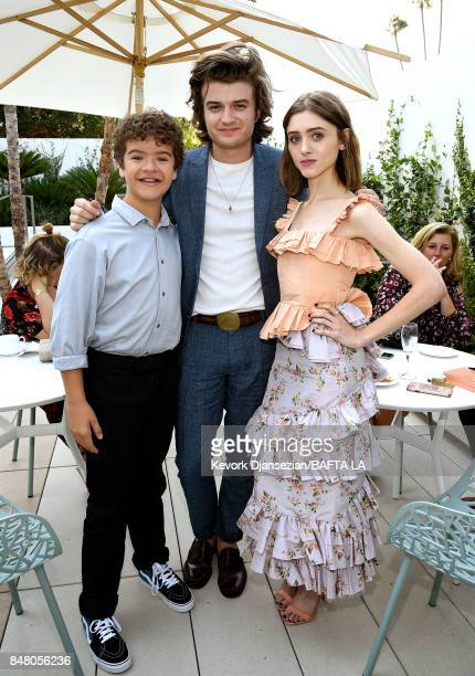Gaten Matarazzo Joe Keery and Natalia Dyer attend the BBC America BAFTA Los Angeles TV Tea Party 2017 at The Beverly Hilton Hotel on September 16...