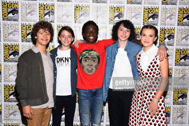 Gaten Matarazzo Noah Schnapp Caleb McLaughlin Finn Wolfhard and Millie Bobby Brown attend the Stranger Things press conference at ComicCon...
