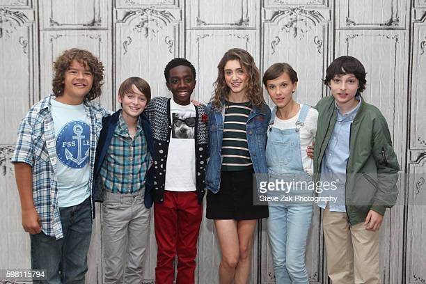 Gaten Matarazzo Noah Schnapp Caleb McLaughlin Natalia Dyer Millie Bobby Brown and Finn Wolfhard attend Build Seris to discuss their show Stranger...