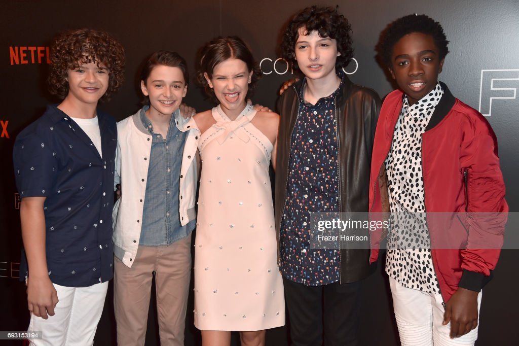 Gaten Matarazzo, Noah Schnapp, Millie Bobby Brown, Finn Wolfhard, and Caleb McLaughlin attend Netflix's 'Stranger Things' For Your Consideration event at Netflix FYSee Space on June 6, 2017 in Beverly Hills, California.