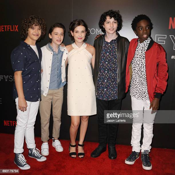 Gaten Matarazzo Noah Schnapp Millie Bobby Brown Finn Wolfhard and Caleb McLaughlin attend the Stranger Things FYC event at Netflix FYSee Space on...