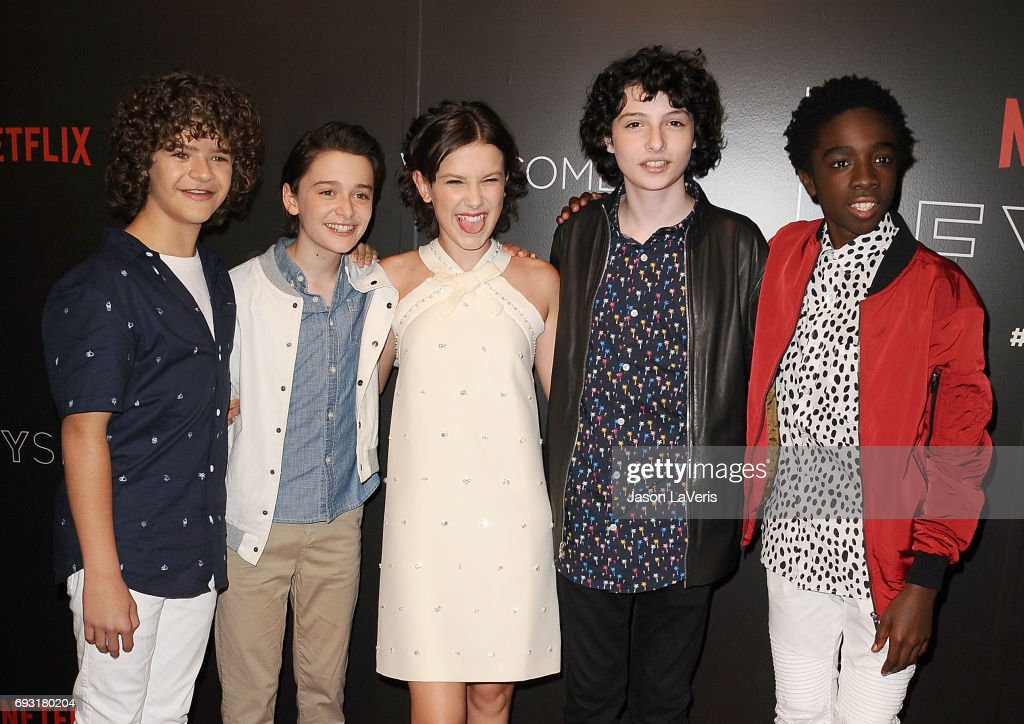 Gaten Matarazzo, Noah Schnapp, Millie Bobby Brown, Finn Wolfhard and Caleb McLaughlin attend the 'Stranger Things' FYC event at Netflix FYSee Space on June 6, 2017 in Beverly Hills, California.