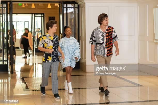 Gaten Matarazzo Priah Ferguson and Joe Keery attend the Season 3 Stranger Things press junket at The London Hotel on June 27 2019 in West Hollywood...