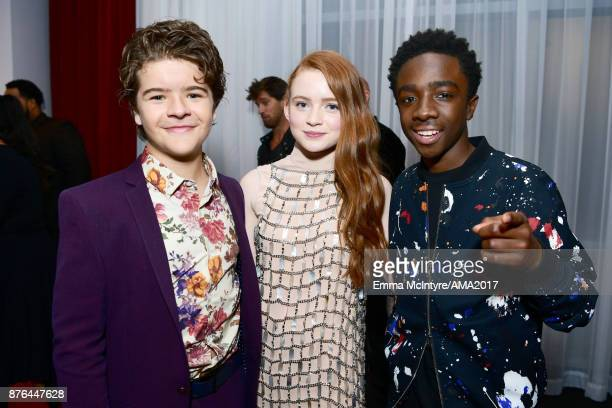 Gaten Matarazzo Sadie Sink and Caleb McLaughlin pose backstage during the 2017 American Music Awards at Microsoft Theater on November 19 2017 in Los...