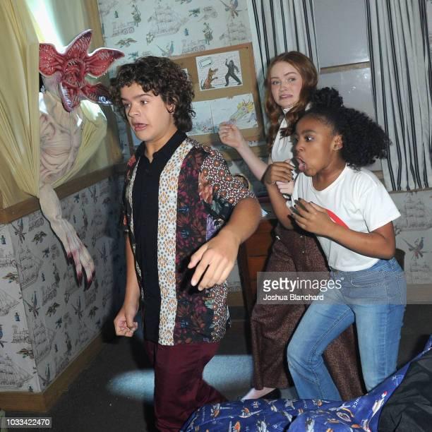Gaten Matarazzo Sadie Sink and Priah Ferguson attend Stranger Things Maze during Halloween Horror Nights 2018 at Universal Studios Hollywood on...