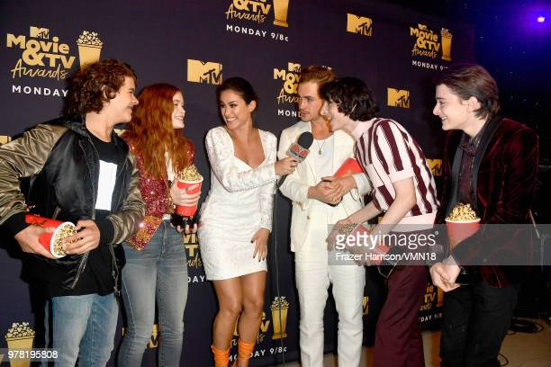Gaten Matarazzo Sadie Sink Dacre Montgomery Finn Wolfhard and Noah Schnapp winners of Best Show for 'Stranger Things' attend the 2018 MTV Movie And...