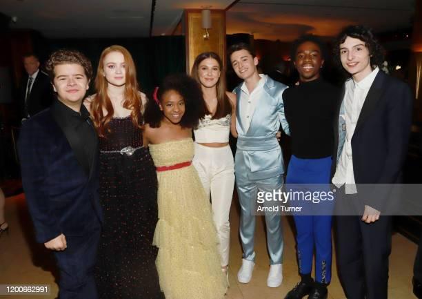 Gaten Matarazzo, Sadie Sink, Priah Ferguson, Millie Bobby Brown, Noah Schnapp, Caleb McLaughlin and Finn Wolfhard attend 2020 Netflix SAG After Party...