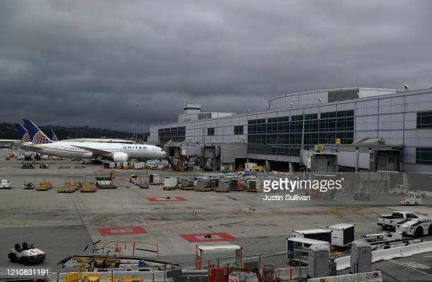 Gates sit empty in the international termial at San Francisco International Airport on March 06 2020 in San Francisco California In the wake of the...
