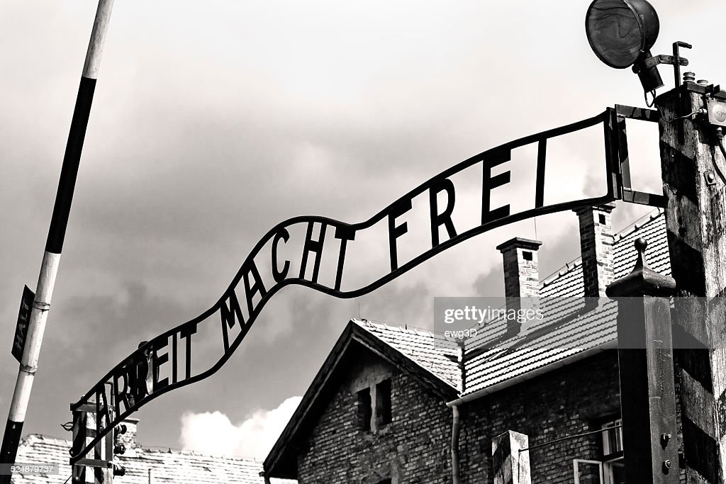 Gates to Auschwitz Birkenau Concentration Camp : Stock Photo