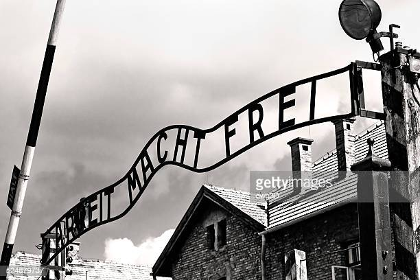 gates to auschwitz birkenau concentration camp - concentration camp stock photos and pictures