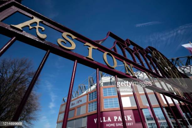 Gates to the Trinity Road Stand at Villa Park home of Aston Villa FC on March 23 2020 in Birmingham United Kingdom