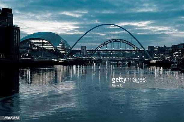Gateshead and Newcastle Bridges at night
