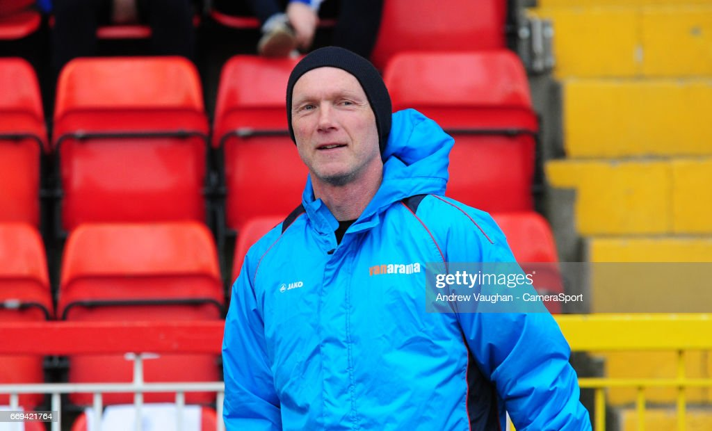Gateshead manager Neil Aspin during the pre-match warm-up prior to the Vanarama National League match between Gateshead and Lincoln City at on April 17, 2017 in Gateshead, England.