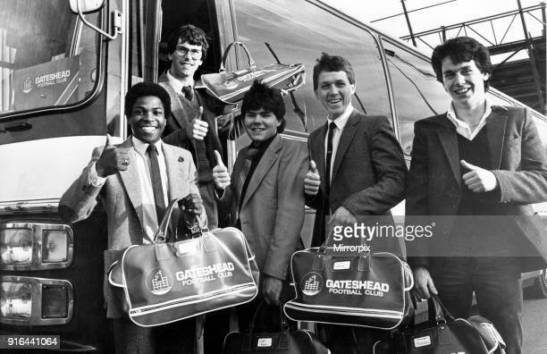 Gateshead team players in happy mood leaving the stadium for their FA Cup tie with Lincoln today Left to right are Leon Gill Geoff Carver Jimmy Boyce...