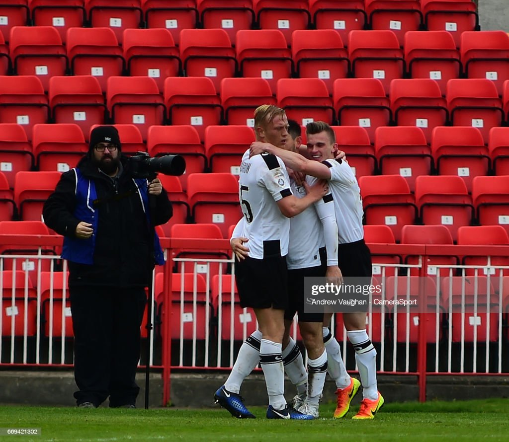 Gateshead's Patrick McLaughlin celebrates scoring the opening goal during the Vanarama National League match between Gateshead and Lincoln City at on April 17, 2017 in Gateshead, England.