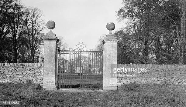 Gateway to Filkins Hall Oxfordshire 18thcentury gate piers and wrought iron gates to Filkins Hall which was burned down and rebuilt in Jacobean style...
