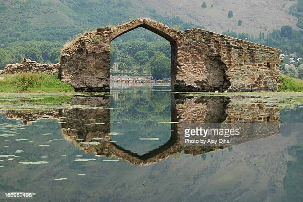 gateway to heaven, dal lake, srinagar, kashmir - kashmir stock photos and pictures