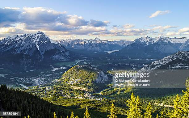 gateway to heaven - sulphur mountain stock pictures, royalty-free photos & images