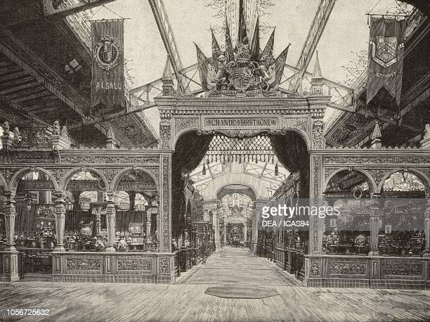 Gateway to the English section of the Universal Exposition of 1889 Paris France engraving from L'Illustrazione Italiana year 16 no 30 July 28 1889
