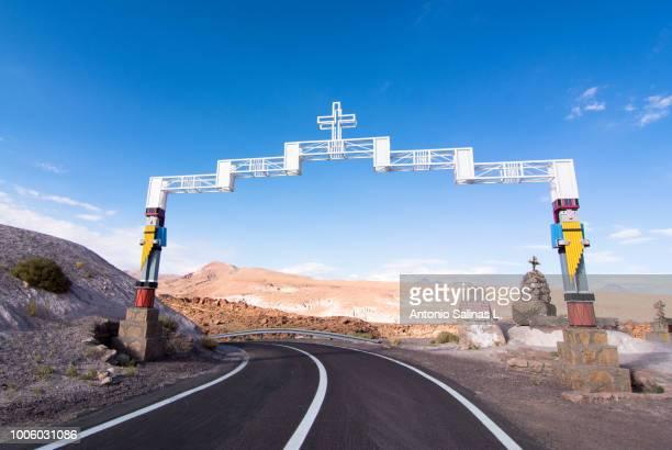 gateway to the town rio grande, near san pedro de atacama. chile - antofagasta region stock photos and pictures