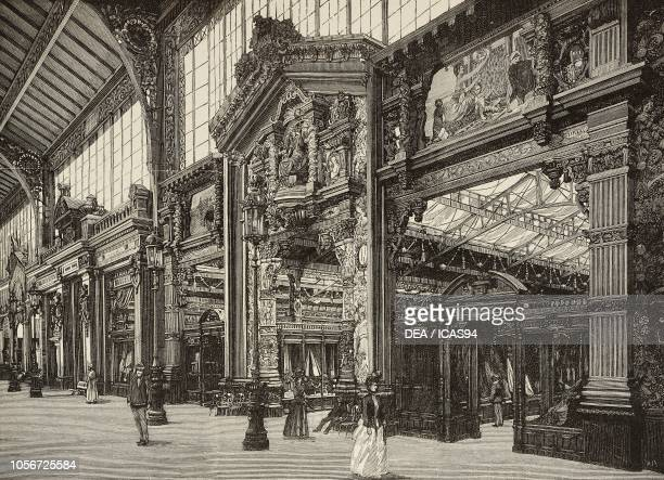 Gateway to the wool and fabrics section of the Universal Exposition of 1889 Paris France engraving from L'Illustrazione Italiana year 16 no 30 July...