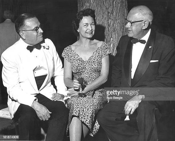 JUN 26 1957 JUN 30 1957 ***** Gather for Black Tie Party Partygoers gathered on the moonlit terrace for appetizers prior to dinner Mrs Francis Van...