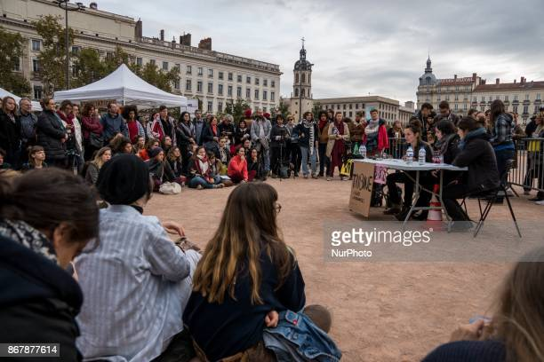 A gathering against genderbased and sexual violence on the place Bellecour in Lyon France on October 29 2017 #MeToo hashtag is the campaign...