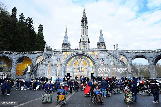 Gathering at NotreDameduRosaires basilica in the city of Lourdes Yearly gathering of young christians members of the FRAT