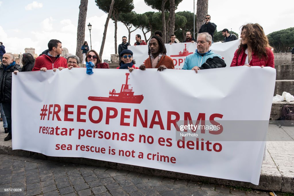Gathering in support of NGO ship Open Arms in Rome