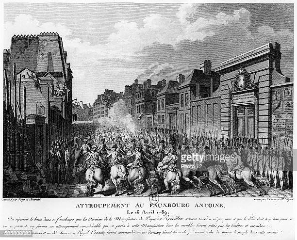 Gathering in the Faubourg Saint Antoine in Paris April 16 in front of the paper manufacture Reveillon 18th century Engraving
