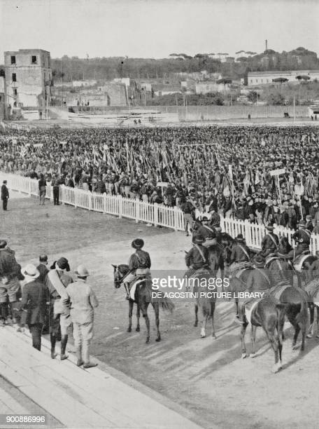 Gathering of 40000 fascists in the Arenaccia sports field before the parade fascist gathering in Naples October 24 from L'Illustrazione Italiana Year...
