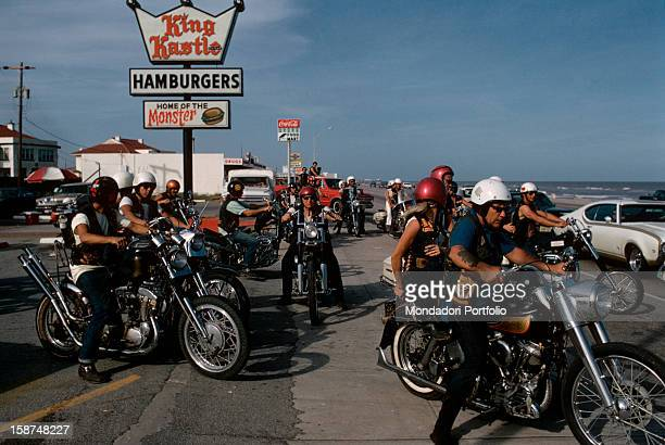 A gathering of Bandidos at Galveston these American bikers imitate the Californian Black Angels but are considered less dangerous and they almost all...
