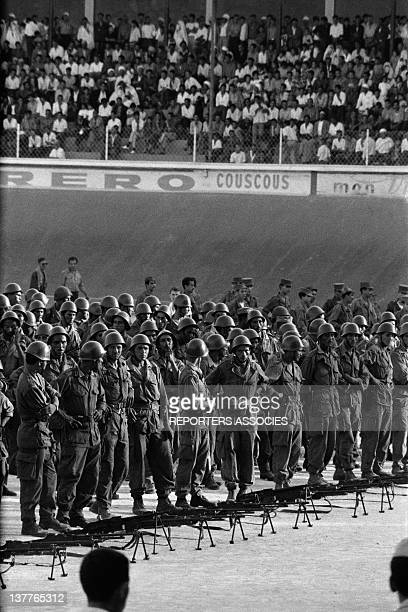 Gathering of the ALN National Liberation Army soldiers in a stadium on September 13 1962 in Algeria