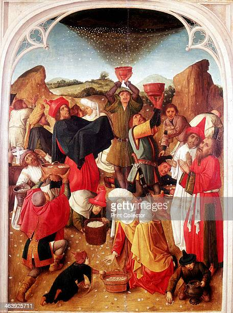 'Gathering of the Manna' c14601475 Israelites in the wilderness receiving manna from heaven