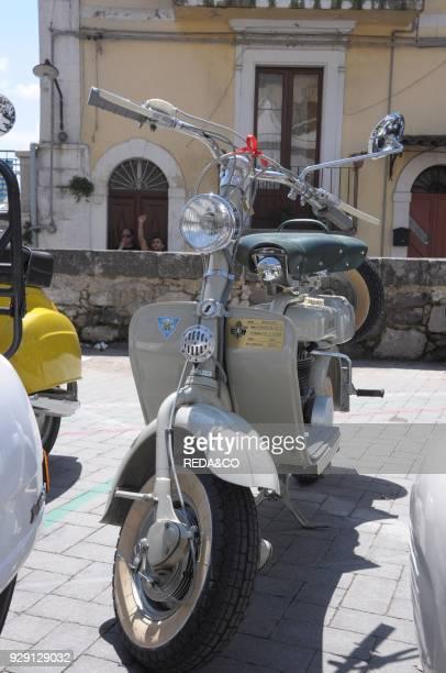 Gathering of vintage Vespa scooter Vizzini city of the writer Giovanni Verga Sicily Italy